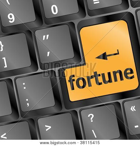 Fortune For Investment Concept With A Orange Button On Keyboard