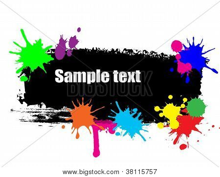 Black Banner With Colored Blots
