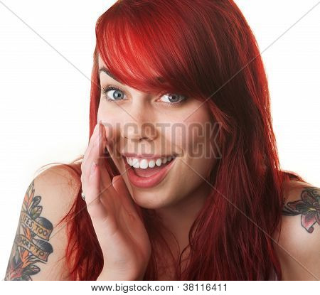 Happy Young Woman Whispering