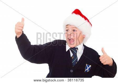 Happy Smiling School Boy Gesturing Thumbs Up Hands Sign Ok.