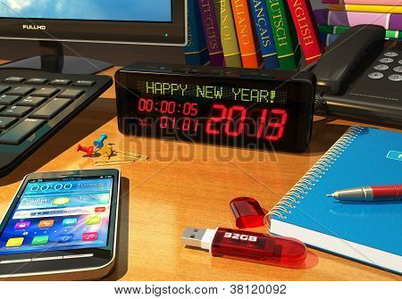 "Clock with ""Happy New Year!"" message on table"