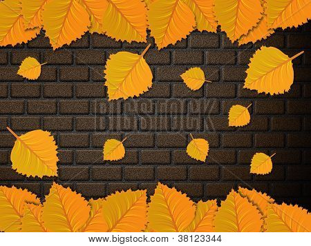 Leaves And Brick Wall