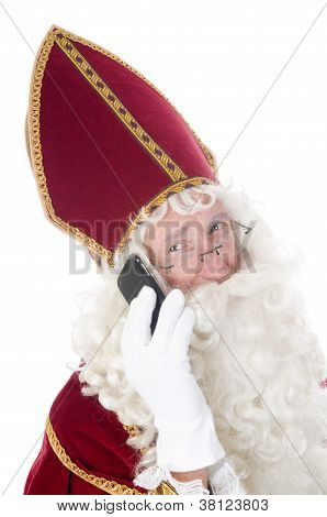 Sinterklaas With A Mobile Phone