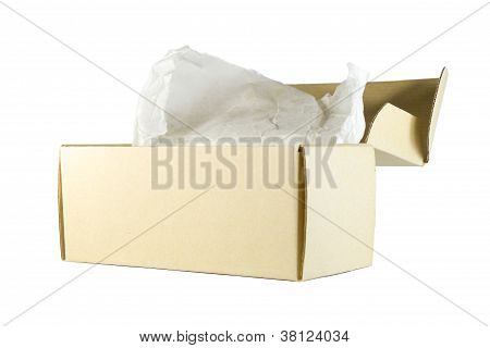 Cardboard Box On White Background