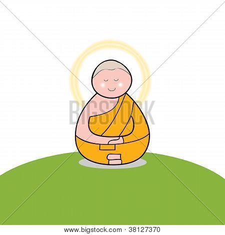 佛教和尚卡通手绘