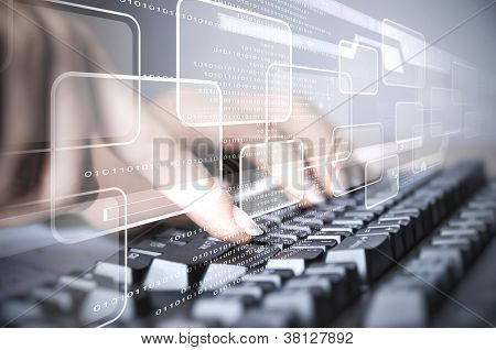 Computer keyboard and social media images