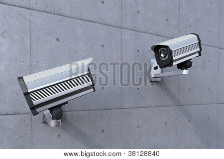 Two Security Camera Watching Each Other