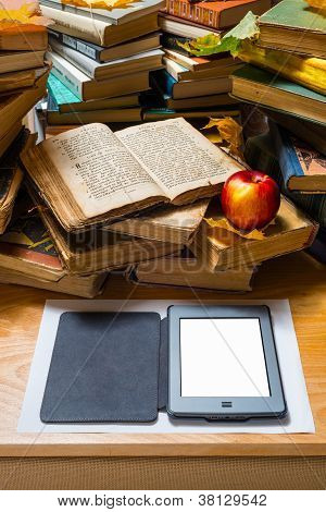 Ebook apple and open old book