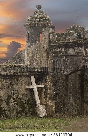 Cross With Ancient Fort