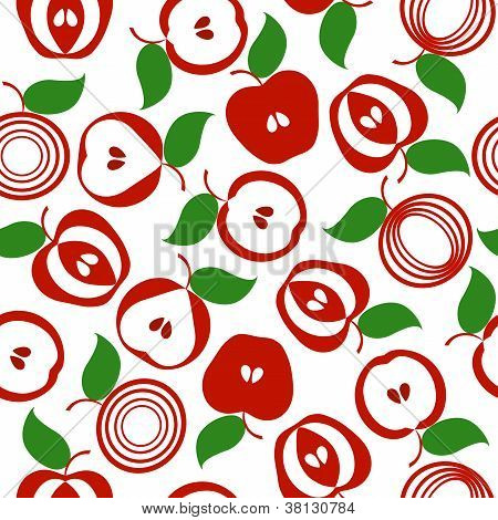 Vector Illustration Os An Apple Seamless Background