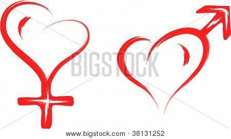 símbolo do coração do sexo masculino e feminino