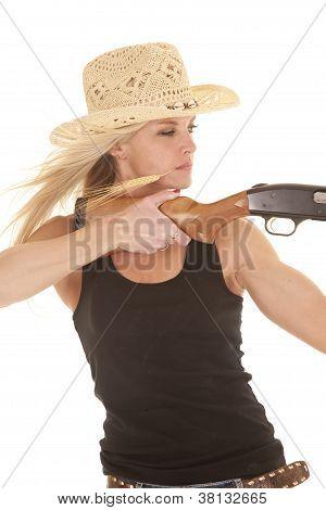 Mulher vaqueira objectivo Shotgun