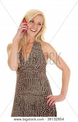Woman Spotted Dress Happy Phone