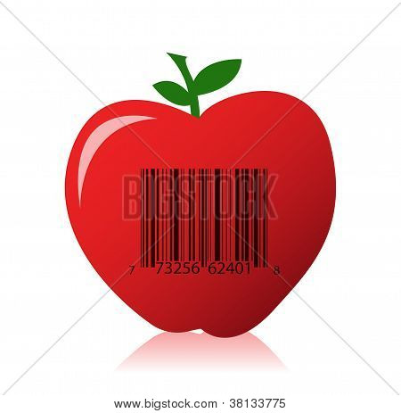 Apple With A Barcode Illustration Design