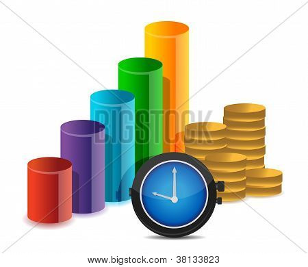Business Graph Coins And Watch