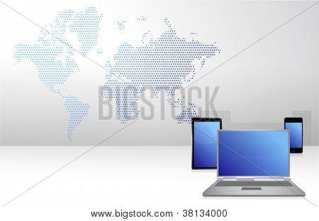 Electronics Background Illustration And A World