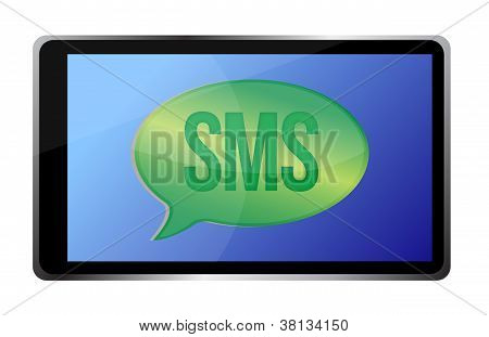 Tablet Receiving An Sms Illustration Design