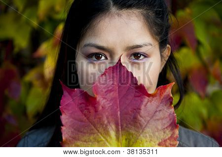 Beautiful Asian Woman In Autumn