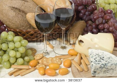 Wine, Cheese, Bread And Grape