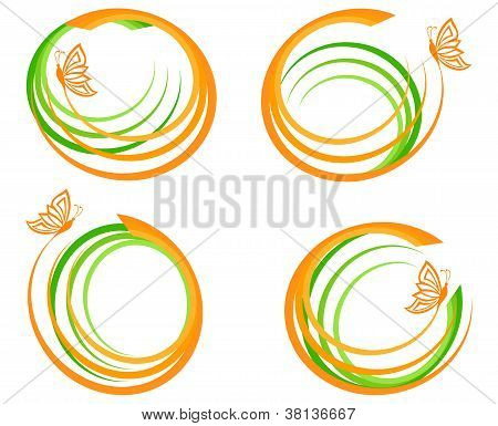 Vector Illustration Of A Set Of A Green Waves With Orange Butterfly.