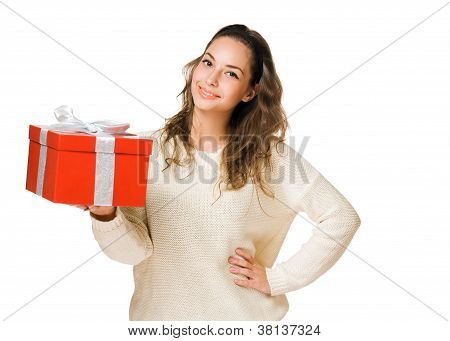Friendly  Brunette With Red Gift Box