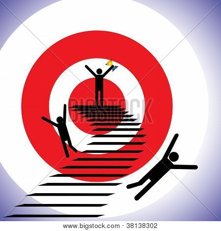 Concept Illustration Of A Winner And Losers. The Graphic Shows A Person Successfully Reaching Goal A