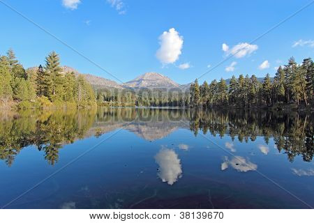 Mount Lassen And Clouds Reflected In Manzanita Lake