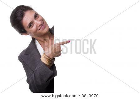 Businesswoman Holding A Billboard
