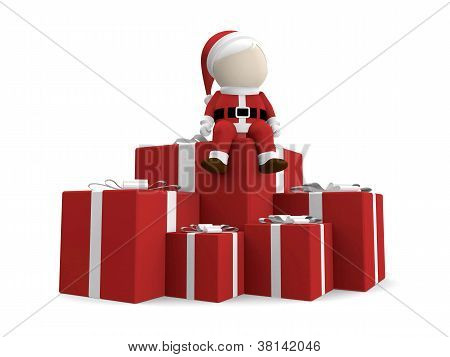 Santa Claus With Pile Of Gifts.