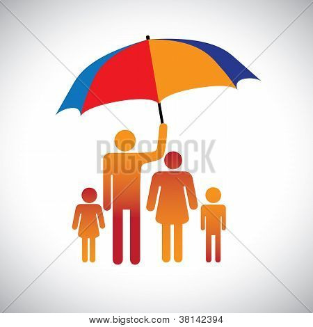 Illustration Of A Family Of Four With Umbrella. The Graphic Represents Father Protecting The Family