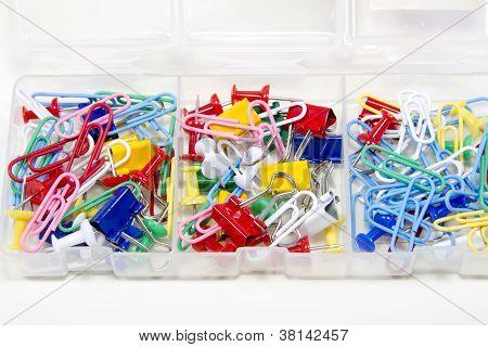 Colored Pushpins Close Up