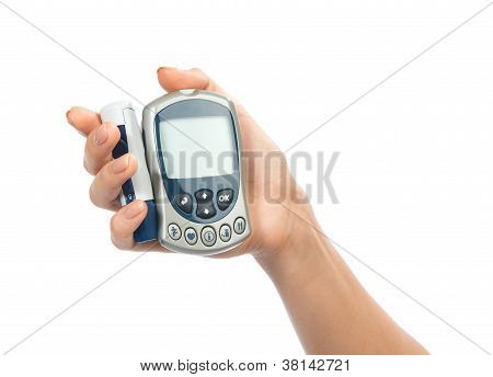 Glucometer In Hand For Measuring Glucose Level Blood Test