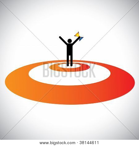 Illustration Of A Winner Winning & Celebrating. The Graphic Shows A Person Successfully Reaching Goa