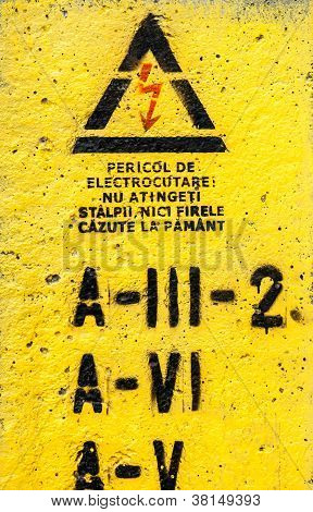 Danger, High Voltage Sign In Yellow