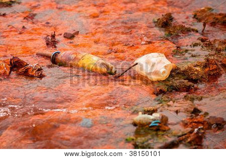 Closeup photo of some toxic water