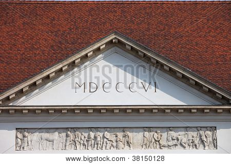 Sandor Palace Pediment In Budapest
