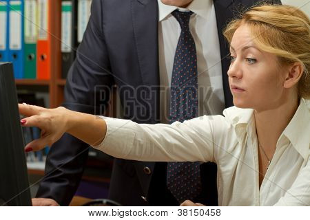 Office Worker Woman Discussing Project