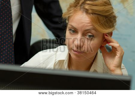 Serious Office Worker Woman