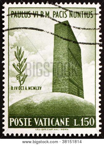 Selo Vaticano 1965 UN sede e ramo de Oliveira