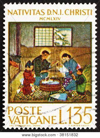 Postage stamp Vatican 1964 Japanese Nativity Scene, by Kimiko Ko