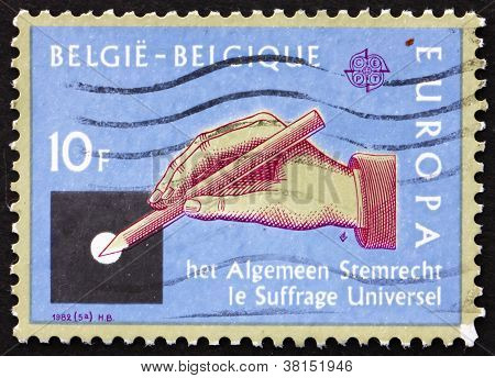 Postage stamp Belgium 1982 Hand with Pencil, Universal Suffrage