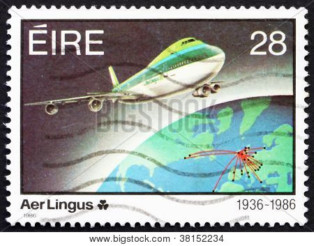 Postage stamp Ireland 1986 Jet plane and Earth