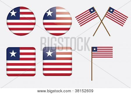 Badges With Flag Of Liberia