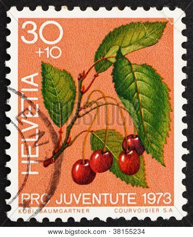 Postage stamp Switzerland 1973 Sweet Cherries, Prunus Avium, Bird Cherry