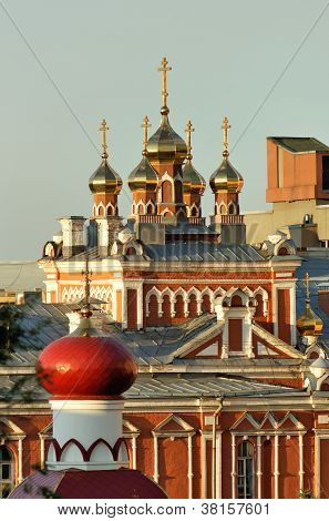 Domes Of The Churches Of The Orthodox Monastery In Samara