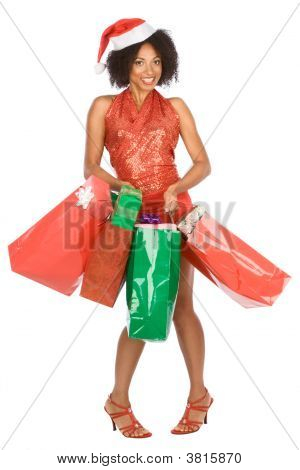 Christmas Shopping Ethnic Woman With Lot Of Gift