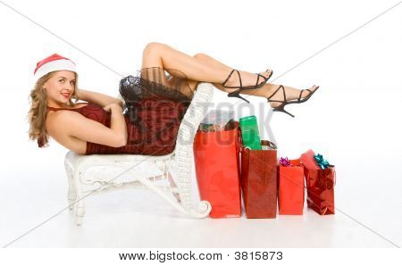 Mrs Santa Claus With Lot Of Christmas Presents