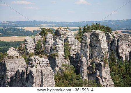 Panoramic View Of Sandstone Rocks In Cesky Raj, Czech Republic