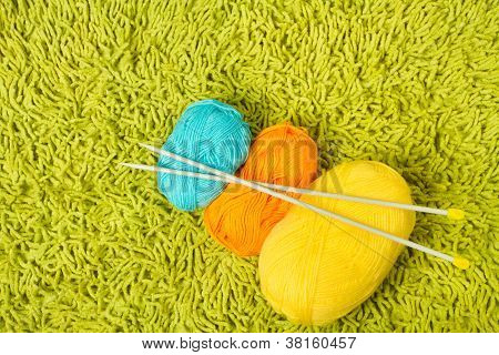 Knitting Yarn Balls And Needles