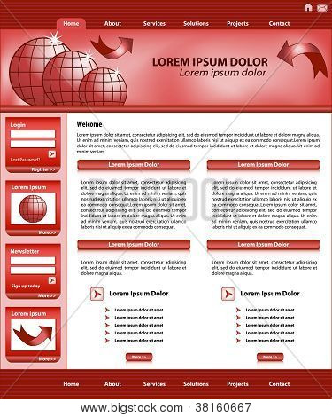 Website Template Design Red
